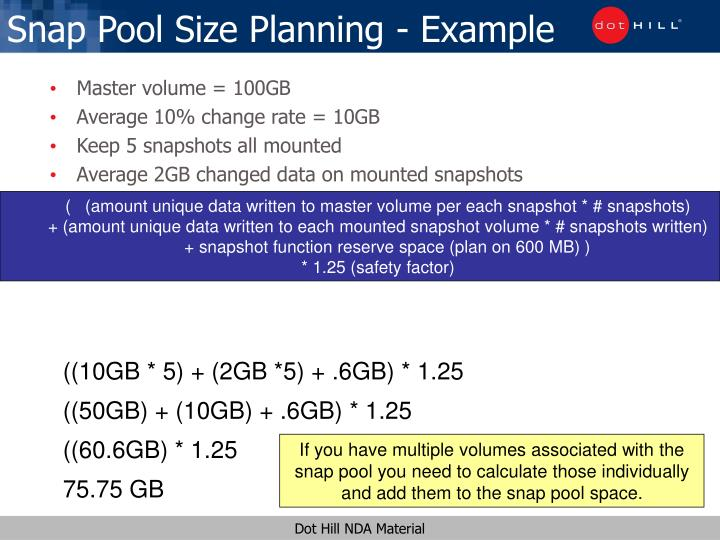 Snap pool size planning example