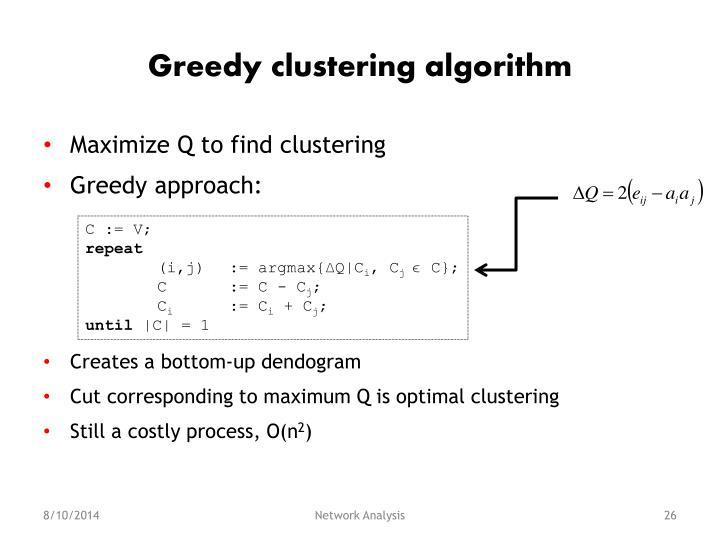 Greedy clustering algorithm