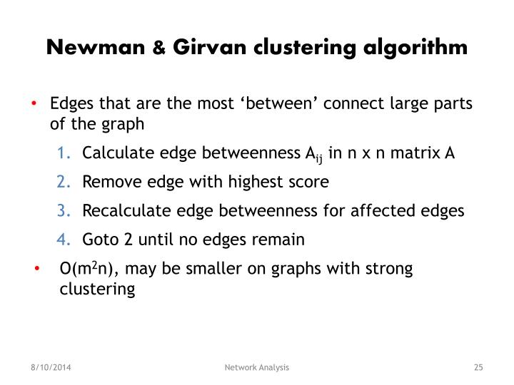 Newman & Girvan clustering algorithm