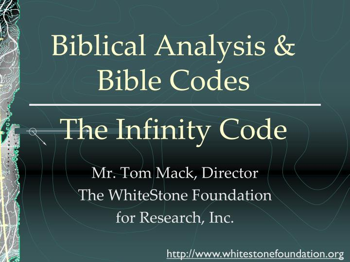 biblical analysis bible codes the infinity code n.