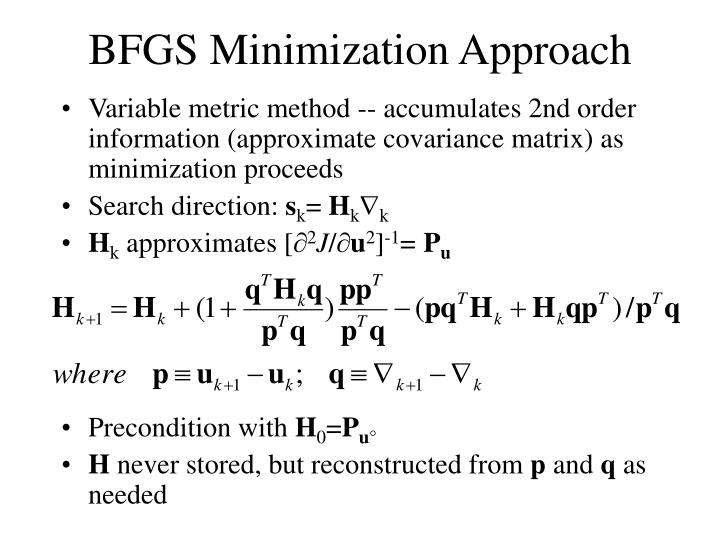 Variable metric method -- accumulates 2nd order information (approximate covariance matrix) as minimization proceeds