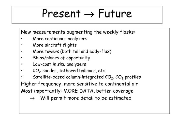 New measurements augmenting the weekly flasks: