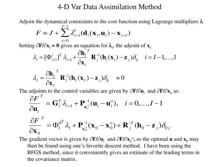 4-D Var Data Assimilation Method