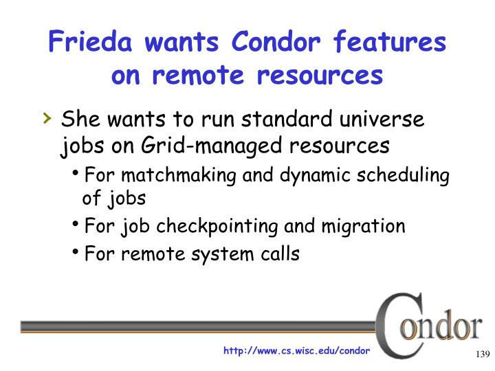 Frieda wants Condor features on remote resources