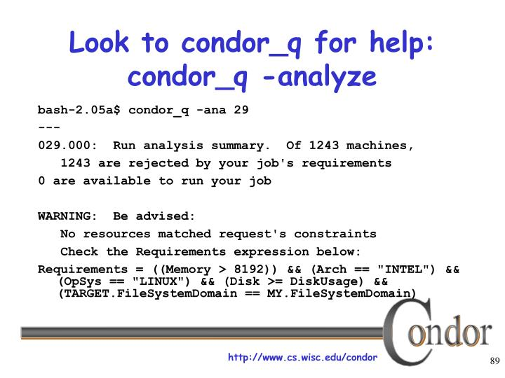 Look to condor_q for help: