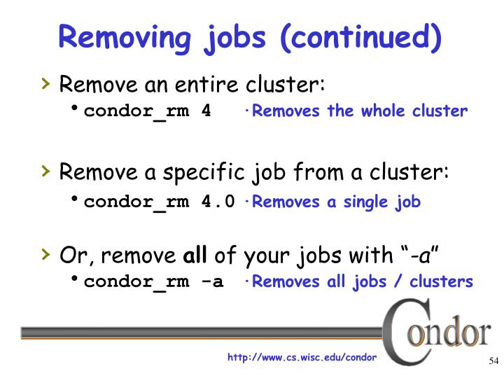 Removing jobs (continued)