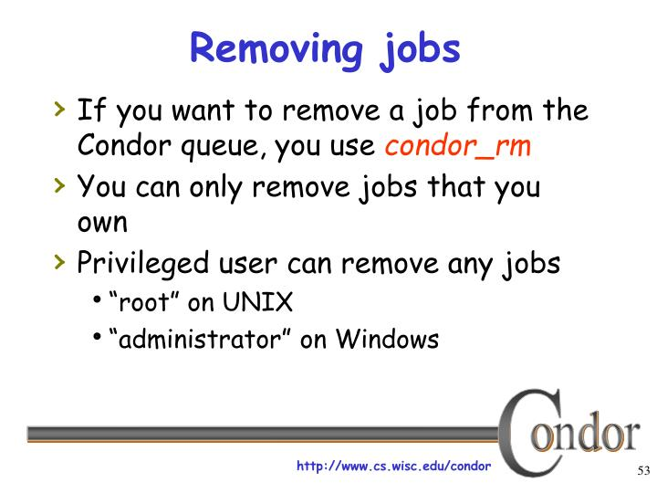 Removing jobs