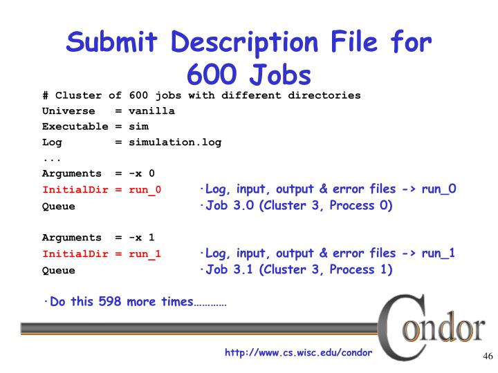 Submit Description File for 600 Jobs