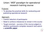 union msf paradigm for operational research training course