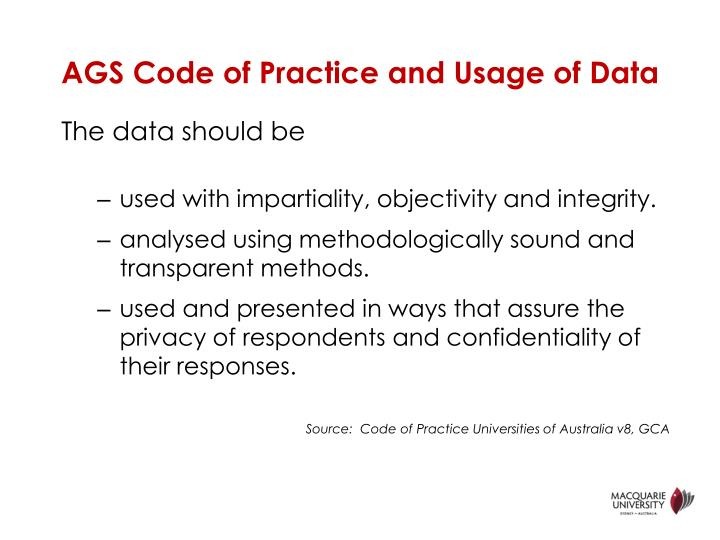 Ags code of practice and usage of data