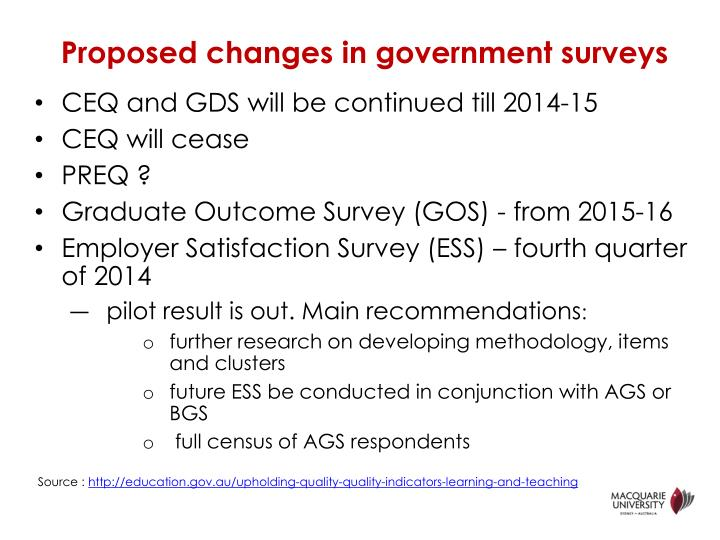 Proposed changes in government surveys