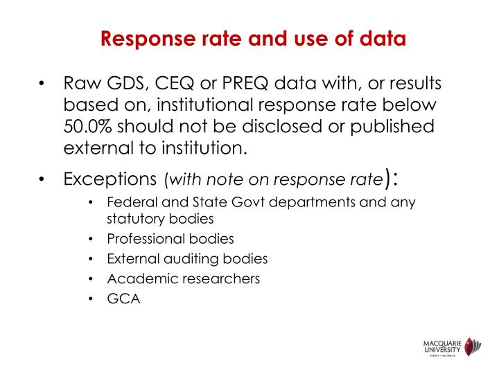 Response rate and use of data