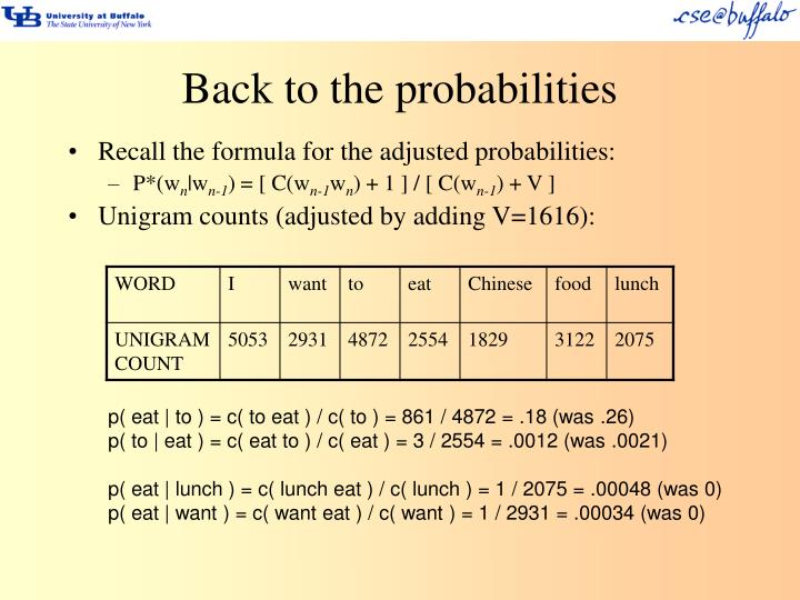 Back to the probabilities