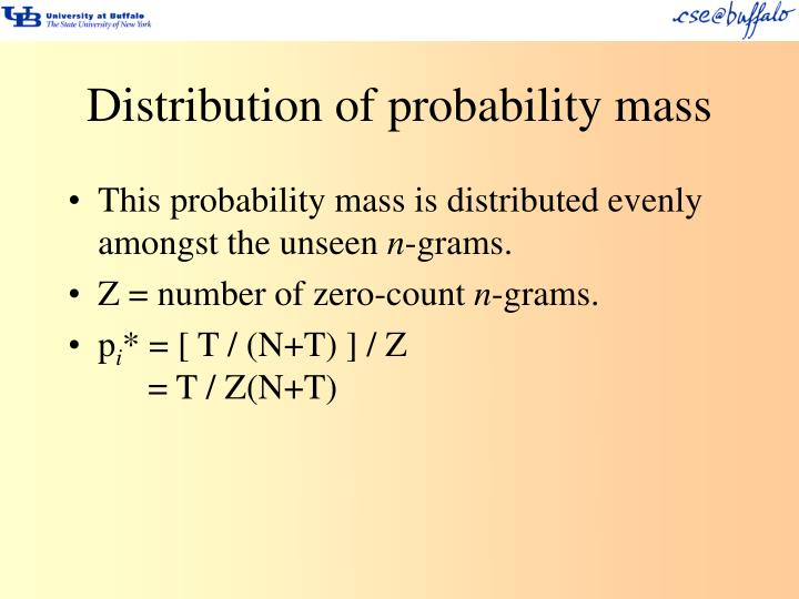 Distribution of probability mass