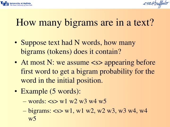 How many bigrams are in a text