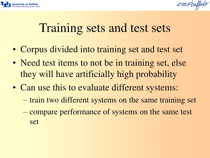 Training sets and test sets