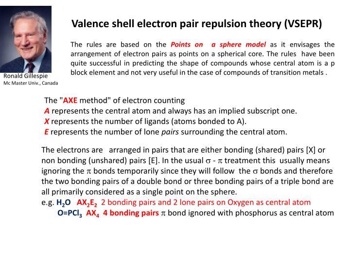 Valence shell electron pair repulsion theory (VSEPR)