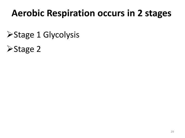 Aerobic Respiration occurs in 2 stages