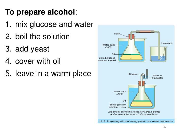 To prepare alcohol