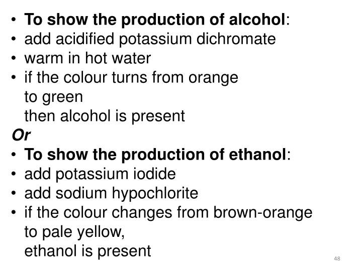 To show the production of alcohol