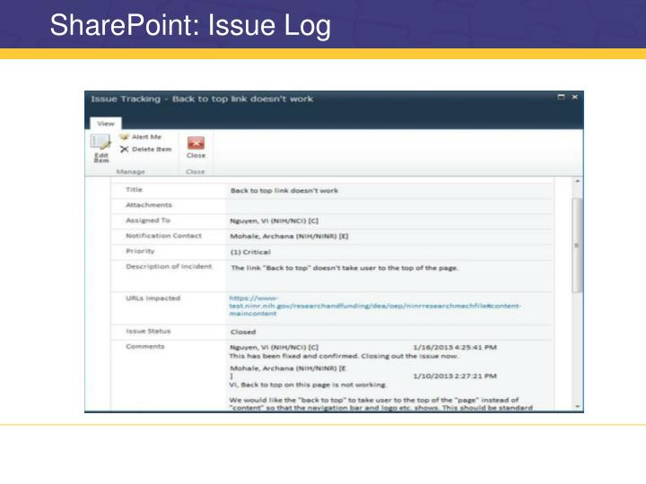 SharePoint: Issue Log
