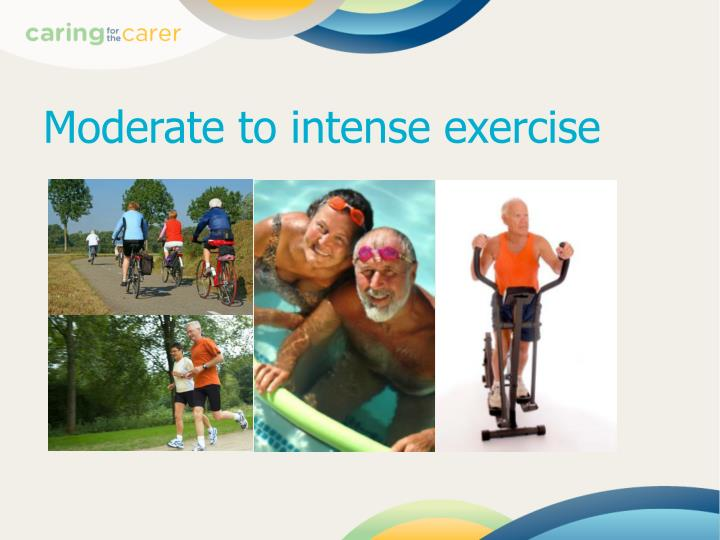 Moderate to intense exercise