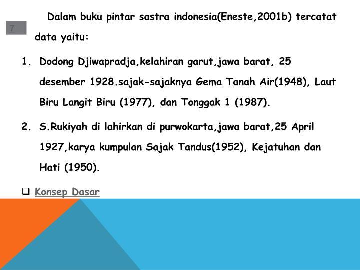 Dalam buku pintar sastra indonesia(Eneste,2001b) tercatat data yaitu: