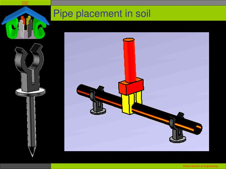 Pipe placement in soil