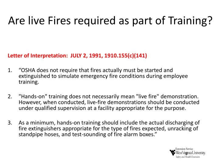 Are live Fires required as part of Training?