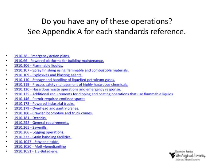 Do you have any of these operations?