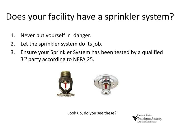 Does your facility have a sprinkler system?