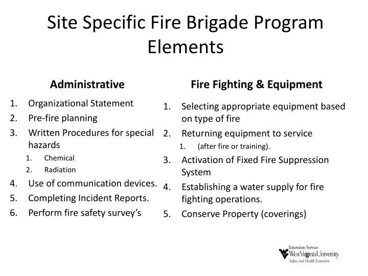 Site Specific Fire Brigade