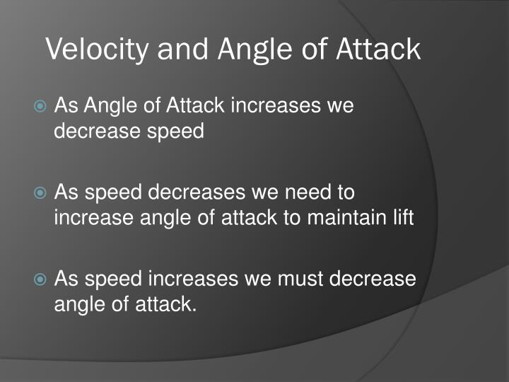 Velocity and Angle of Attack