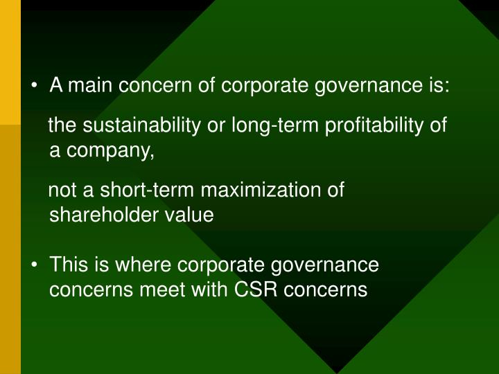 A main concern of corporate governance is:
