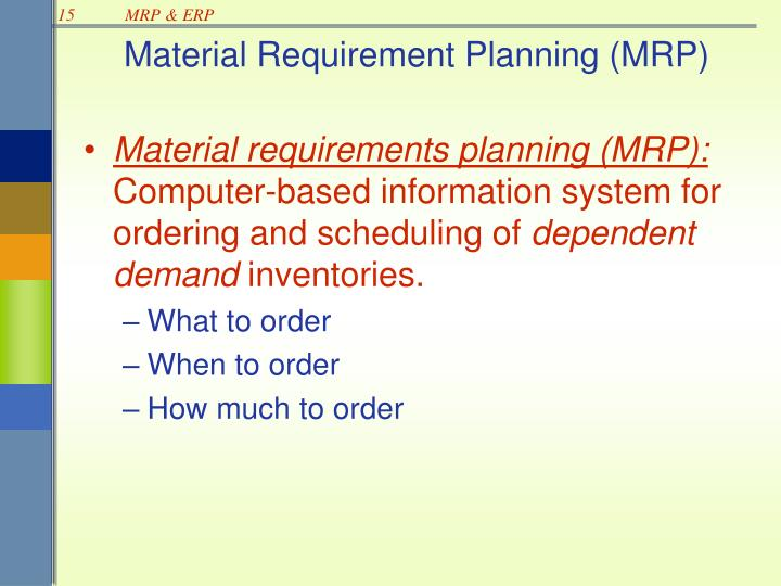 Ppt Mrp Mrp Ii And Erp Powerpoint Presentation Id
