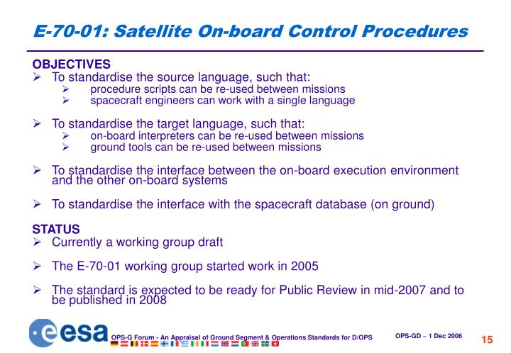 E-70-01: Satellite On-board Control Procedures