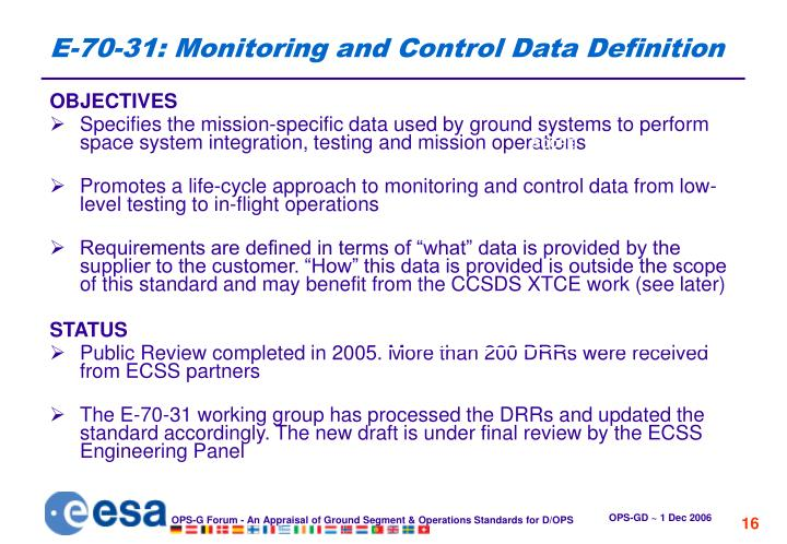 E-70-31: Monitoring and Control Data Definition