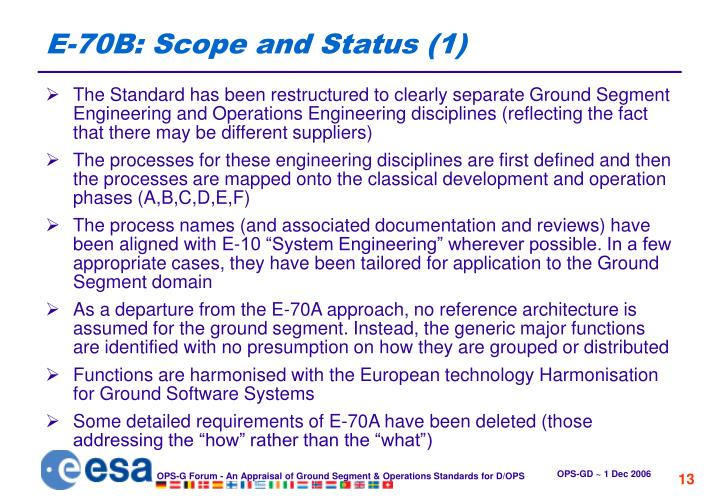 E-70B: Scope and Status (1)