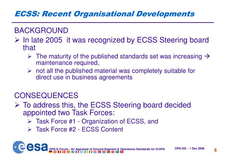 ECSS: Recent Organisational Developments