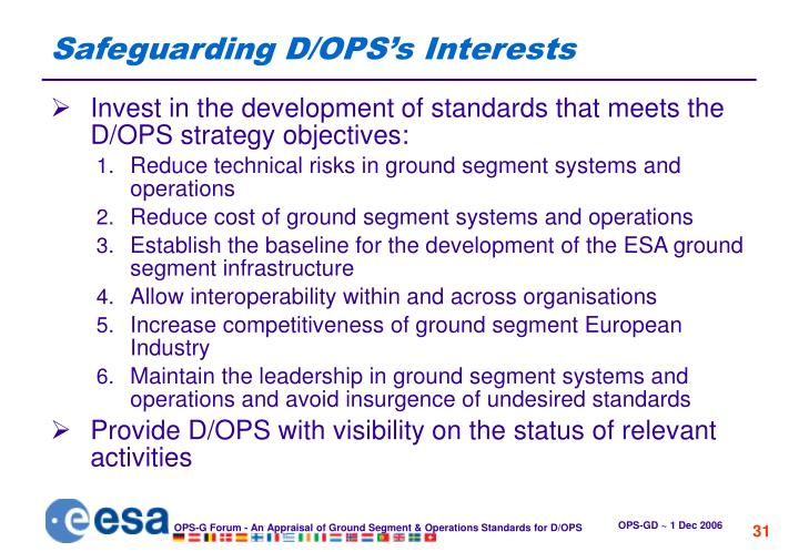 Safeguarding D/OPS's Interests