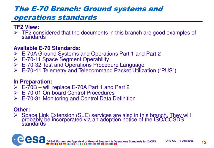 The E-70 Branch: Ground systems and operations standards