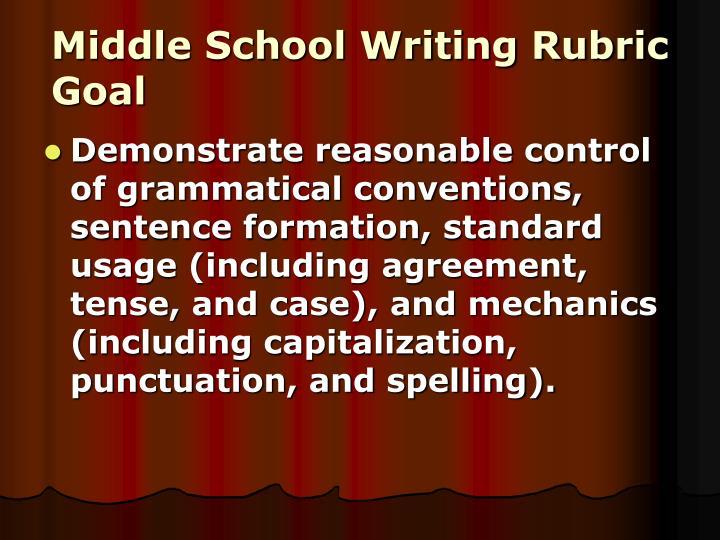 Middle School Writing Rubric Goal