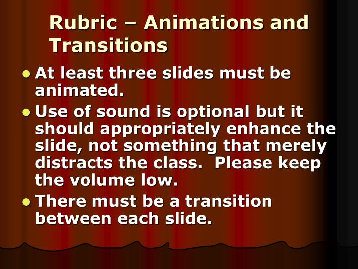 Rubric – Animations and Transitions
