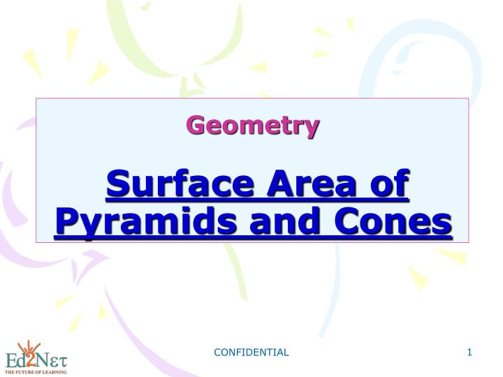 geometry surface area of pyramids and cones n.