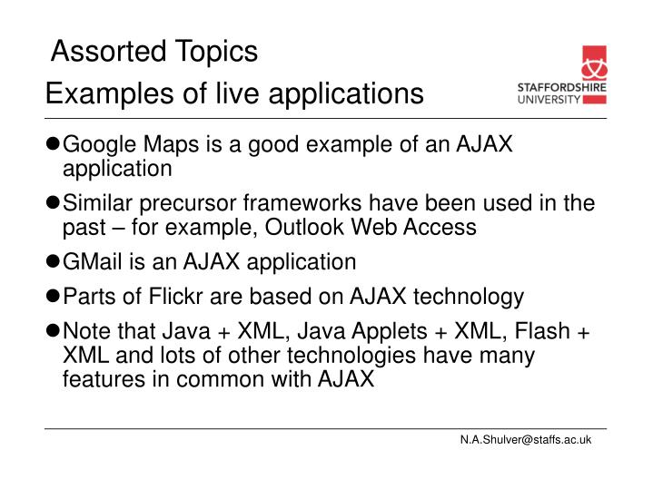 Examples of live applications