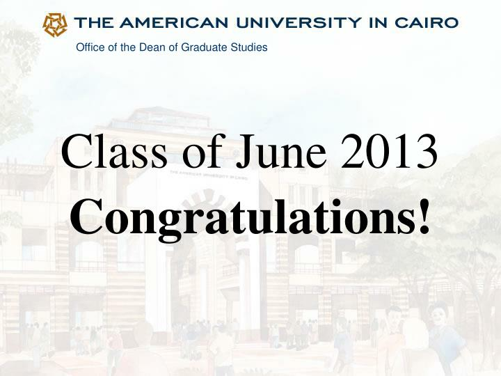 Class of june 2013 congratulations