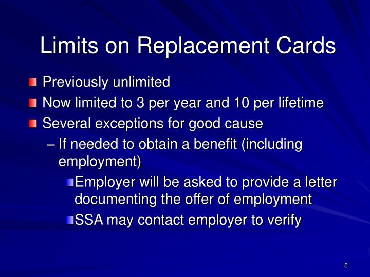 Limits on Replacement Cards