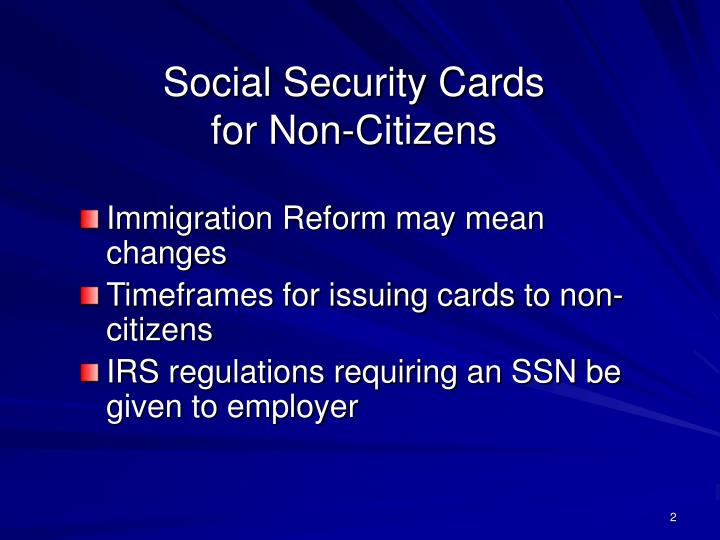 Social security cards for non citizens
