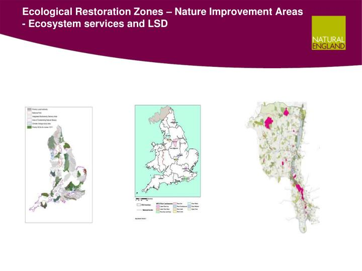 Ecological Restoration Zones – Nature Improvement Areas - Ecosystem services and LSD