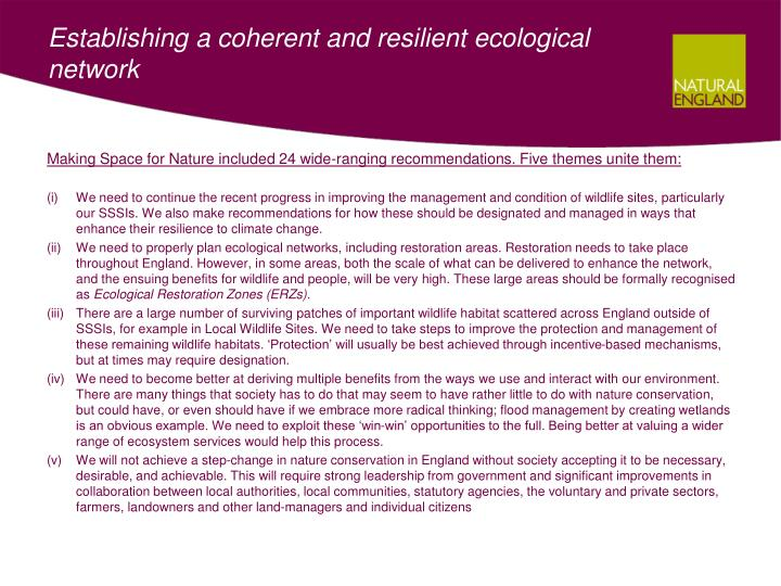 Establishing a coherent and resilient ecological network